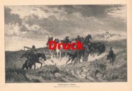 1724 Heinrich Lang Pferdetransport Ungarn Druck 1885 !! - Stampe