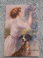 Cpa Illustrateur  Signé Femme Frau Lady Chien Dog - Illustratoren & Fotografen