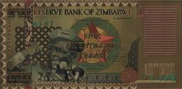 Zimbabwe, 1 Bicentillion Dollars, 24K Gold-Plated Banknote. - Zimbabwe
