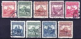 Tchécoslovaquie 1927 Mi 257-62+288-90 (Yv 229-37), Obliteré, Sans Filigrane - Used Stamps
