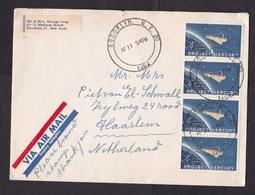 USA: Airmail Cover To Netherlands, 1962, 4 Stamps, Space, Air Label Epileptics, Wildlife Bird Cinderella (minor Damage) - Verenigde Staten