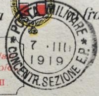 POSTA MILITARE *CONCENTR.SEZIONE E.P. * 7 III 1919 Guller D.c. Piccolo  - DA BOLOGNA PER MILANO - Guerre 1914-18
