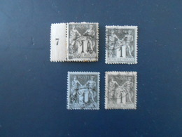FRANCE YT83 TYPE SAGE 1c. Noir S.azuré TYPE II Cachet à Date 4 Timbres Pour étude - 1876-1898 Sage (Type II)