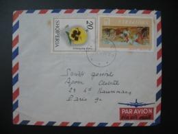 Lettre   Thème Fleur Pensée Scène De La Vie Paysan Marchand  Albanie   Pour La Sté Générale En France Bd Haussmann Paris - Albania