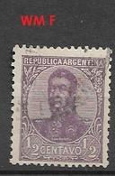 ARGENTINA  1908 -1909 General San Martin - 1/2c. WM F GJ # 295 - Oblitérés