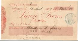 CORSE Chèque De Banque LANZI FRERES AJACCIO 1899 - Chèques & Chèques De Voyage