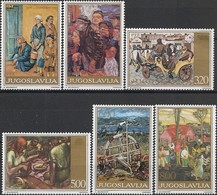 YUGOSLAVIA - COMPLETE SET SOCIAL PAINTINGS BY 20th CENTURY YUGOSLAV ARTISTS 1975 - MNH - Arte