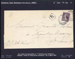 MAURY N°136:35C SEMEUSE CH.MAIGRES - S/LRI  OB PARIS 37 TRIBUNAL DE COMMERCE DU 11/3/1907 - Marcophilie (Lettres)