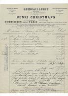 Facture  27 Gisors  Henri Christmann  38 Rue Cappeville   Quincaillier 1877 - France