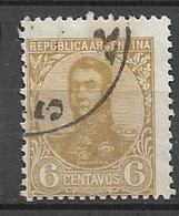 ARGENTINA  1908 -1909 General San Martin -6c. .  WM F  GJ # 281  USED  Variants - Oblitérés