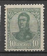 ARGENTINA  1908 -1909 General San Martin -6c. .  WM G  GJ # 282  USED  Variants - Oblitérés