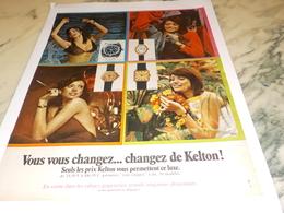 ANCIENNE PUBLICITE MONTRE KELTON  1971 - Bijoux & Horlogerie