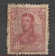 ARGENTINA  1908 -1909 General San Martin -30c.. .  WM G  GJ # 286        USED Colour  Variants - Oblitérés