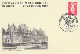 Carte   FRANCE   Festival   Des  MOTS  CROISES     EU   1996 - Cachets Commémoratifs