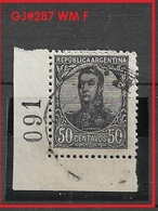 ARGENTINA  1908 -1909 General San Martin   50c.   WM F  GJ # 287        USED Colour  Variants - Oblitérés