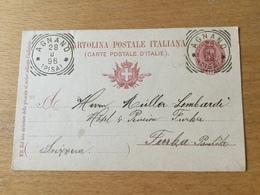 SCHW995 Italien Ganzsache Stationery Entier Postal P 29 Von Agnano Nach Furka - 1878-00 Umberto I