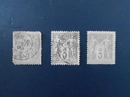FRANCE YT87 TYPE SAGE 3c. Gris TYPE II Cachet à Date 3 Timbres Pour étude - 1876-1898 Sage (Type II)