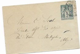 Entier Enveloppe Sage Utilisée En Algérie . Oblitérée Alger 1901. - Sonstige