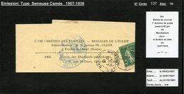 MAURY N°137:5C SEMEUSE CAMEE - S/BDE DE JOURNAL - TARIF IMP. 1° ECH. OB MONTBELIARD 12/7/1915 PR GENEVE - Marcophilie (Lettres)