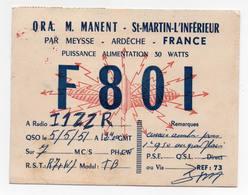 ST MARTIN L'INFERIEUR PAR MEYSSE ARDECHE FRANCE ERINNOFILIA - CB RADIO - Radioamatore - Radioamateur - QSL - Short Wave - Carte QSL