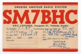SWEDISH VETLANDA SWEDEN  - CB RADIO - Radioamatore - Radioamateur - QSL - Short Wave - Carte QSL