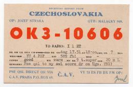 CZECHOSLOVAKIA Praha - Ceca Malacky - CB RADIO - Radioamatore - Radioamateur - QSL - Short Wave - Carte QSL