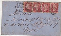 GRANDE - BRETAGNE : N° 26 . BANDE DE 4 . Pl 74 . DE LONDRES . POUR PARIS . 1867 . - 1840-1901 (Victoria)