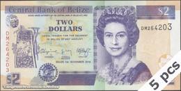 TWN - BELIZE 66d - 2 Dollars 1.11.2011 DEALERS LOT X 5 - Prefix DK UNC - Belize