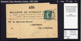 MAURY N°137:5C SEM. CAMEE - S/BDE ECRIT PERIODIQUE 4° ECH. OB PARIS PERIODIQUE DI 1/11/1908 PR SEPTFONDS - Marcophilie (Lettres)
