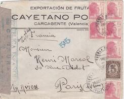 Guerre D'Espagne  :   Lettre Par Avion Pour Paris De 1936 Avec Censure Républicaine - Marques De Censures Républicaines