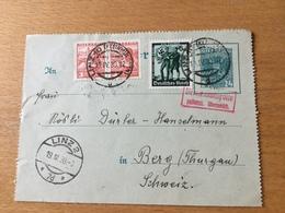 SCHW995 Österreich Ganzsache Stationery Entier Postal K 67b Von Linz Nach Berg Schweiz Devisenkontrolle!!! - Stamped Stationery