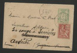 1902 PLI ADRESSE A SINNAMARY EN GUYANE FRANCAISE. Voir Description - Postmark Collection (Covers)