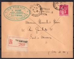 FRANCE  289  Seul Sur Lettre Recommandée De 1933 - Postmark Collection (Covers)
