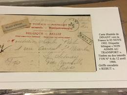 Rebut Sur Cp Dînant Vers France Le 03/11/1902 étiquette Non Admis Au Transport + Timbre Interdit Au Dos OS N6 - Marcophilie