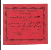 KB1278 - TEMOIGNAGE DE SATISFACTION - INSTITUT FRANCHOT CHOISY LE ROI - Diplomas Y Calificaciones Escolares