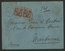 """1889 LEVANT / COLONIES / N° 4 PAIRE Obl. C-à-d """"CONSTANTINOPLE GALATA 12/12/89"""" Sur Env. Recommandée Pour Narbonne - Levant (1885-1946)"""
