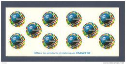 France, Carnet BC3140, BC 3140, Carnet Neuf **, Non Plié, TTB, Coupe Du Monde De Football, France 98 - Commémoratifs