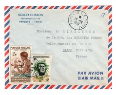 Polynesie - Lettre Par Avion De Papeete Pour La France Avec YV PA 1 + YV 5 - Luftpost