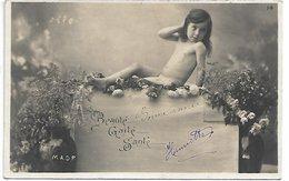 L170A639 - Fillette Nue Entourée De Fleurs - Beauté, Gaité, Santé - M.A.D.P N°14 - Carte Précurseur - Portraits