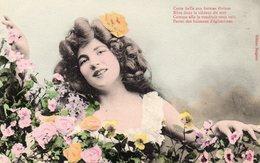 """Jolie Femme Fleurs """"cette Belle Aux Formes Divines Rêve......."""" Carte Rare  éditeur Bergeret état Voir Scan - Femmes"""