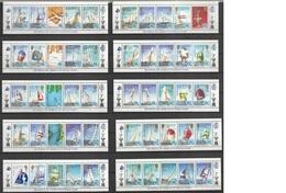 Iles Salomon 1986, N° 555 à 603 NMH Sport Nautique Coupe De L'América Complet 10 Bandes De 5 Timbres  (V2) - Salomon (Iles 1978-...)
