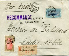 """COTE FRANCAISE DES SOMALIS LETTRE RECOMMANDEE PAR AVION AVEC CACHET """"2 SERVICE AVION DJIBOUTI-ADDIS"""" DEPART DJIBOUTI.... - Côte Française Des Somalis (1894-1967)"""