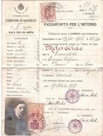 PASSAPORTO PER L'INTERNO COMUNE DI LAORCA - Historical Documents