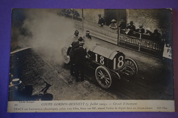 CPA PHOTO VOITURE RALLYE COURSE TRACY Sur LOCOMOTIVE USA RARE PLAN COUPE GORDON BENNETT 1905 - Sport Automobile
