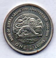 SIERRA LEONE, 1 Leone, Silver, Year 1974, KM #26a - Sierra Leona