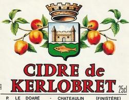 29 CHATEAULIN  Etiquette Cidre De KERLOBRET 9x7 CM - Otros