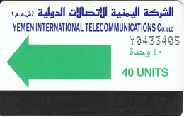 TARJETA DE YEMEN DE 40 UNITS CON NUMEROS GRANDES - Yemen
