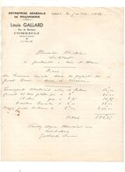 Facture Entreprise Générale De Maçonnerie Louis Gallard à Combault En 1932 - France