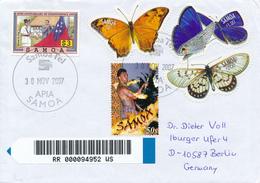 SAMOA / APIA -  2007 ,  Butterflies , Schmetterlinge -  R-Brief Nach Berlin - Samoa (Staat)