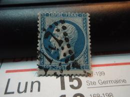 Timbre 20c Bleu Napoléon III, Empire Franc, Dentelé, 1862. Oblitéré. Numéroté : 1747 - 1862 Napoleon III